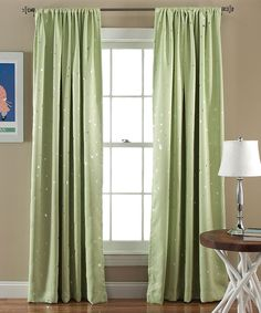 Star Blackout Green Window Curtain Panel
