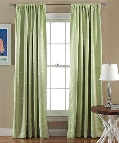 Star Blackout Green Window Curtain Panel