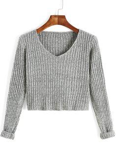 Jersey cuello V manga larga crop -gris 14.66