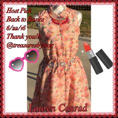 🌟 Beautiful Dress by Lauren Conrad Beautiful Dress by Lauren Conrad in a light peach color with pops of green, pink, lavender and black Lauren conrad Dresses Midi