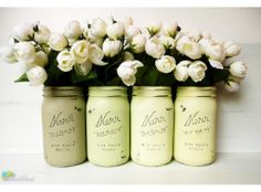 yellows and greens for spring. I'll never get enough of painted mason jars.