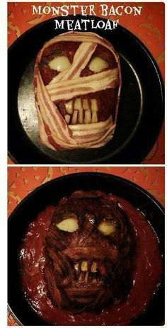 Halloween Zombie Meatloaf Recipe - Fabulessly Frugal - - Disgusting and delicious! This zombie meatloaf is perfect for Halloween dinner! Bacon Meatloaf, Bacon Wrapped Meatloaf, Meatloaf Recipes, Bacon Bacon, Bacon Pizza, Turkey Bacon, Halloween Goodies, Halloween Celebration, Halloween Food For Party