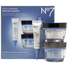 Boots No7 Lift and Luminate 3 Piece Skincare System Includes Eye Cream, Day Cream and Night Cream *** You can get more details by clicking on the image.