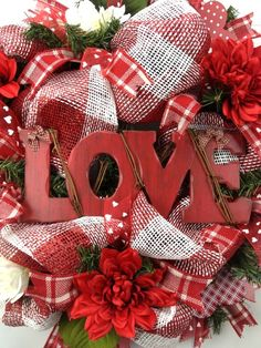 Faux Burlap VALENTINE Door Wreath Red White LOVE Sign Door Wreath Rustic