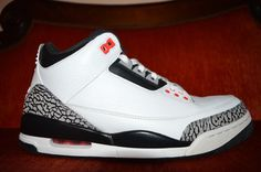 NIKE AIR JORDAN III 3 INFRARED 23 WHITE-BLACK CEMENT 136064-123 Size 9.5 NDS