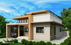 Meet Kassandra, two storey house design with roof deck. The ground floor has a total floor area of 107 square meters and 30 square meters at the second floor House Roof Design, Bungalow House Design, Small House Design, Modern House Design, Two Storey House Plans, One Storey House, 2 Storey House Design, House Layout Plans, House Layouts