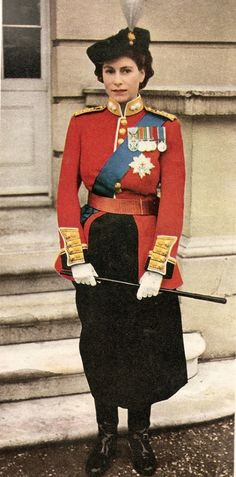 A young Queen Elizabeth II in the uniform of Colonel in Chief, The Grenadier Guards ready for Trooping the Colour...
