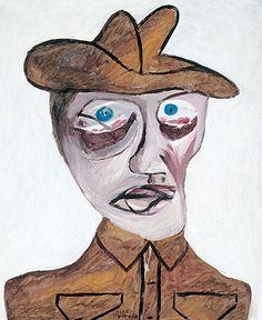 Sir Sidney Nolan, Head of soldier, enamel on cardboard. The Gallipoli Series, John McDonald Australian Painting, Australian Artists, Sidney Nolan, John Mcdonald, Victoria Art, New Zealand Art, Anzac Day, Art Classroom, Printmaking