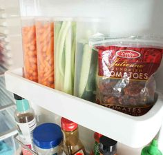 Upcycle Crystal Light containers to hold cut-up vegetables.