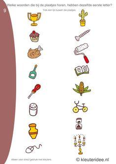 Welke woorden van de plaatjes hebben dezelfde beginletter 9 , kleuteridee.nl, free printable.