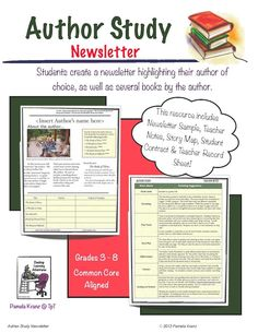 Author Study Newsletter is a culminating project has the student reading five books from a favorite author, in a contracted timeline worked out between you and the student. The newsletter format has them presenting a quick overview of the books, as well as an interview with the author. Grades 3-8. $