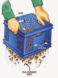 DIY Tip of the Day: Handy soil sifter. A large milk-crate container with a grid bottom makes a great soil sifter. Weeds, roots and rocks stay in the crate!