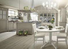 wohnideen küche landhaus stil weiß französisch romantisch