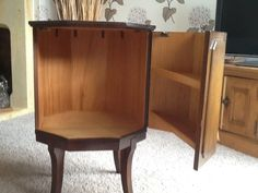 Hexagonal Old Fashioned Drinks Cabinet With Green Leather Inlay   eBay