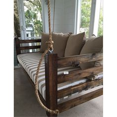 Not your average porch swing! Our swing beds are hand-built, unique and customized per client. If you can dream it, we can build it. Porch Bed, Diy Porch, Porch Swing, Swing Beds, Porch Ideas, Front Porch, Diy Outdoor Furniture, Outdoor Rooms, Diy Furniture