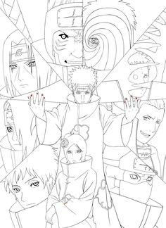 Naruto Artbook : Akatsuki Lineart [PSD] By On DeviantArt - Coloring Home Wallpaper Naruto Shippuden, Naruto Wallpaper, Naruto Shippuden Anime, Boruto, Naruto Sketch Drawing, Anime Sketch, Naruto Drawings Easy, Otaku Anime, Anime Art