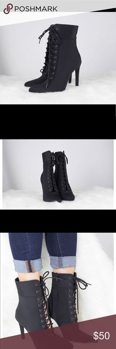 Black Lace Up Booties A little sexy and edgy this bootie is sure to turn heads. With a pointed toe and stiletto heel you can dress this bootie up or down.   Heel height 4.25 Shoe Height 10 inches, Lightly padded for comfort. Sizing May Vary Depending On Shoe Style And Foot Width *Suggested to go half a size bigger in pointed heels. Sole and Style Shoes Ankle Boots & Booties
