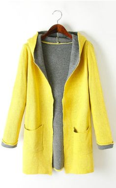 New in double pocket hooded sweater coat ghl3018