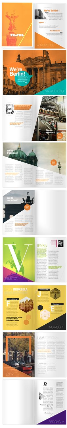 #6: Vacation magazine from designspirations. The spread combines both pages which works good. The bold different colors of the magazine allows the viewer to glance and then determine to read or not read the information presented. The font choice as well is an excellent match.