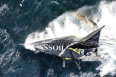 Sailing aerial images of the IMOCA boat Hugo Boss, skipper Alex Thomson (GBR), during training solo for the Vendee Globe 2016, off England, on September 16, 2016 - Photo Cleo Barnham / Hugo Boss / Vendée GlobeImages aériennes de Hugo Boss, skipper Alex
