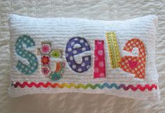 Name Pillow Baby Girl Applique Name Custom by littledottiebliss Applique Pillows, Embroidery Applique, Machine Embroidery, Personalized Pillows, Personalized Baby Gifts, Applique Designs, Embroidery Designs, Sewing Crafts, Sewing Projects