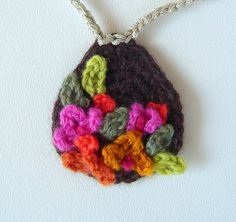 Crochet Brown with Pink Flowers Pendant Necklace  by meekssandygirl, via Flickr