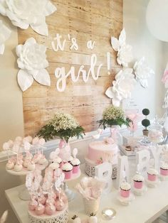 Babyparty-Party-Ideen Idee per feste Baby Shower Fiesta Baby Shower, Baby Girl Shower Themes, Girl Baby Shower Decorations, Party Decoration, Baby Shower Centerpieces, Girl Baby Showers, Floral Centerpieces, Baby Girl Babyshower Themes, Girl Baby Shower Cakes