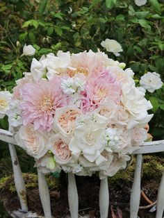 Pink Garden Rose And Hydrangea Bouquet old pink roses, white hydrangeas, pink peonies in a bridal bouquet