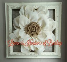 This White Burlap flower is a perfect addition to any home decor. It can be used as a wreath or as wall decor. The frame is not included. It for inspiration only. This wreath measures 15 to 16 inches. ****Other colors available!  Please feel free to message me with any questions!  ***This wreath should not get wet.