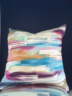 Watercolor Silk Painted Pillow   by Michelle Mathis