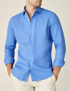 Denim Button Up, Button Up Shirts, Portofino Shirt, Capri Blue, Mother Of Pearl Buttons, Slim Waist, Classic Looks, Casual Wear, Mens Tops