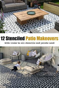 If you're looking for some inspiration to start your own outdoor stenciling project, feast your eyes on this collection of gorgeous patio transformations of 2019 so far. We have examples of concrete, flags and decking, and we've also included all the paints and stencils used with links to the all products.  MEL Instagram: @melaniejadedesignWebsite: www.melaniejadedesign.comFlooring: Wooden deckingStencil Design: Valencia Tile StencilPaints Used: Cuprinol Weatherproof for Garden Wood (White…