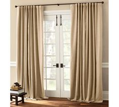 DIY Window Treatments and window treatments for french door windows. Sliding Door Curtains, Patio Door Curtains, Sliding Door Window Treatments, French Door Curtains, Kitchen Window Treatments, Sliding Patio Doors, Sliding Glass Door, Glass Doors, Drapes Curtains