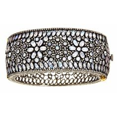 J/Hadley: White sapphire bangle with a pave diamond border (A-53)