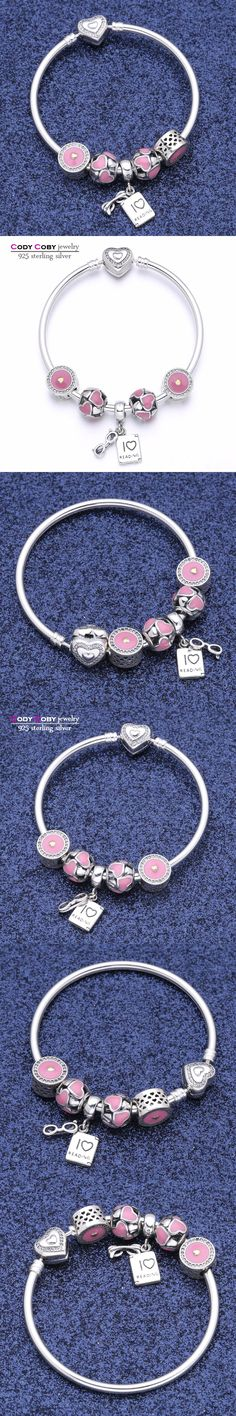 Luxury 100% 925 Sterling Silver Bracelets & Bangles With Pink Enamel love Heart Charm Beads For Women Authentic Jewelry Pulseira