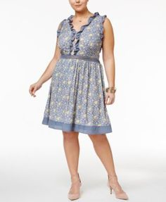 Disney Beauty and the Beast Trendy Plus Size Printed Fit & Flare Dress