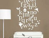 Nursery Wall Decal Alphabet Wall Decals with Moveable Letters and Animals - 750