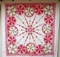 47in x 49in A+ SPECTACULAR VINTAGE RED & WHITE MID CENTURY CIRCLES & FLOWERS TABLECLOTH