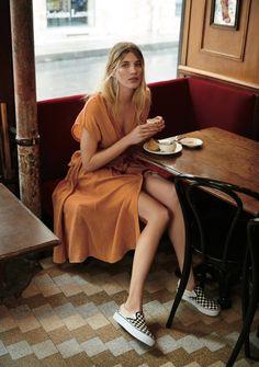 Endless Summer Jacinta Midi Dress and Vans Classic Platform Slip-On Sneaker  | Pinterest: Natalia Escaño