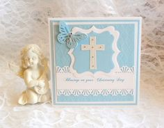 Christening Card   cross butterfly blue   white  by cardsmiles, $5.00