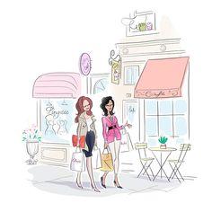 illustration magalie F shopping girls.jpg - Magalie F | Virginie