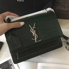 a2e2bba3f9aa Saint Laurent 441972 Small Sunset Bag in Crocodile Embossed Shiny Leather  Green 2017     Real Purse