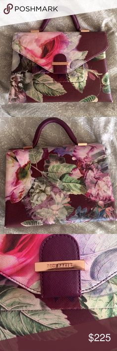 "Ted Baker purse 💗 RARE PATTERN 8.5"" X 11"" X 4"" depth at base. Almost new, purchased in fall 2016. still has plastic on the zippers! Perfect size for a small notebook, wallet, plus separate phone pocket so you don't have to dig for it when you get a call. Also includes longer strap for crossbody Ted Baker Bags Shoulder Bags"