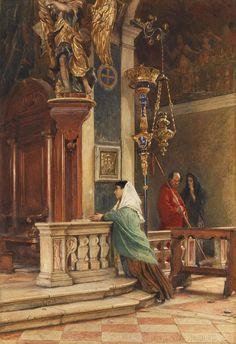 Ludwig Passini Betende in einer venezianischen Kirche 1873