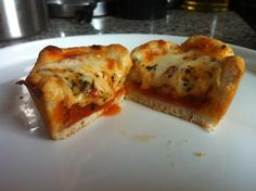 Pizza Cupcakes! - Grands biscuits, pepperoni, pizza sauce, cheese, crushed red pepper, oregano