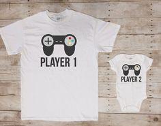 1 joueur 2, papa et moi correspondant chemises chemises pères jour correspondant, cadeau de fête des pères, cadeau d'amant de jeu vidéo, jeu vidéo papa bébé