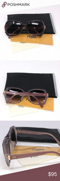 FENDI Sunglasses These sunglasses come with original case and dust cloth. They are in great shape but on of the legs seems to have come bent,  (picture 5), from the manufacturer therefore we have adjusted the price to accommodate this! Even so, they are in good condition. FENDI Accessories Sunglasses