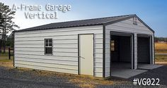 An A-frame garage with Vertical Roof Style is the perfect A-frame garage option. Metal Shed, Metal Garages, Coast To Coast Carports, Home Gym Garage, Roof Styles, Cool Designs, Garage Doors, Outdoor Structures, Building