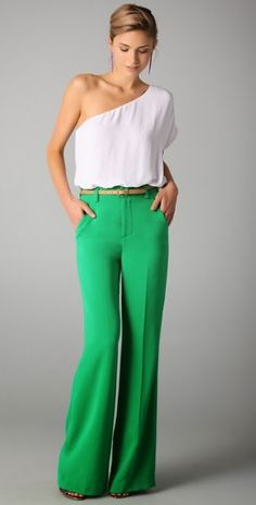 Beautiful high waisted green pant with white top