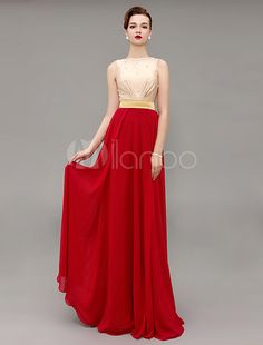 Block Color Jewel Beading Evening Dress With Floor Length